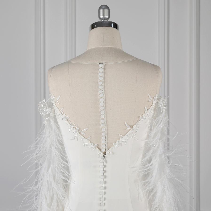 robe de mariée à dos boutons & zipper