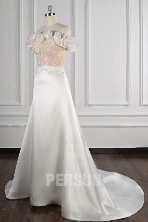 Andréa : Robe de mariée encolure bardot froufrou en satin Ligne A