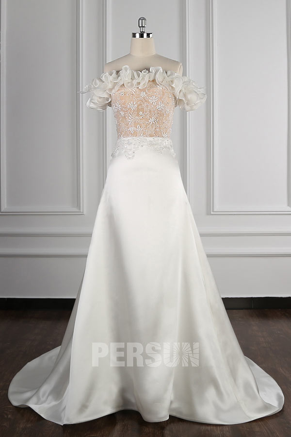 robe de mariée haut champagne bustier en dentelle jupe froufrou plissé