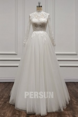 Elsa : Robe de mariée sobre & chic manche longue en dentelle & tulle