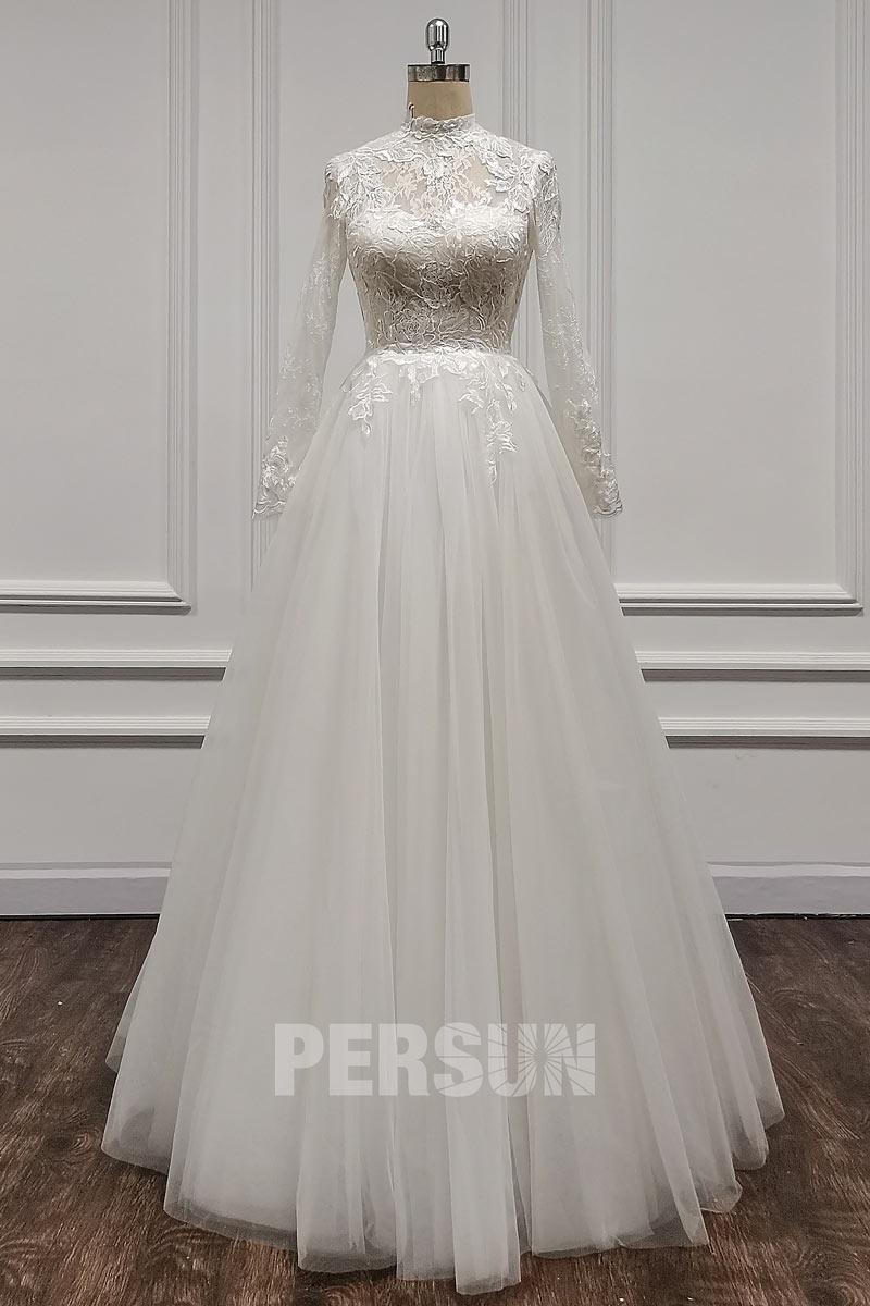 robe de mariée princesse col montant haut dentelle avec manches