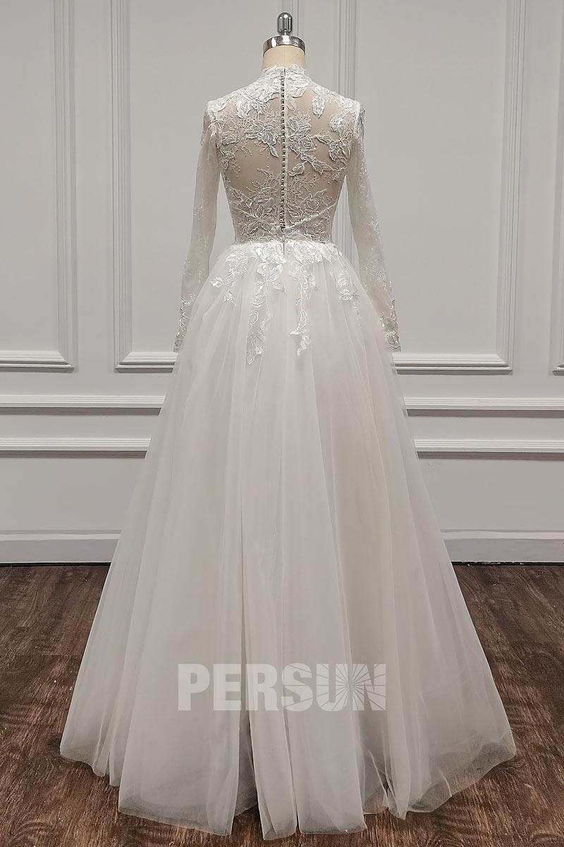 robe mariée vintage haut transparent dentelle appliquée avec manches