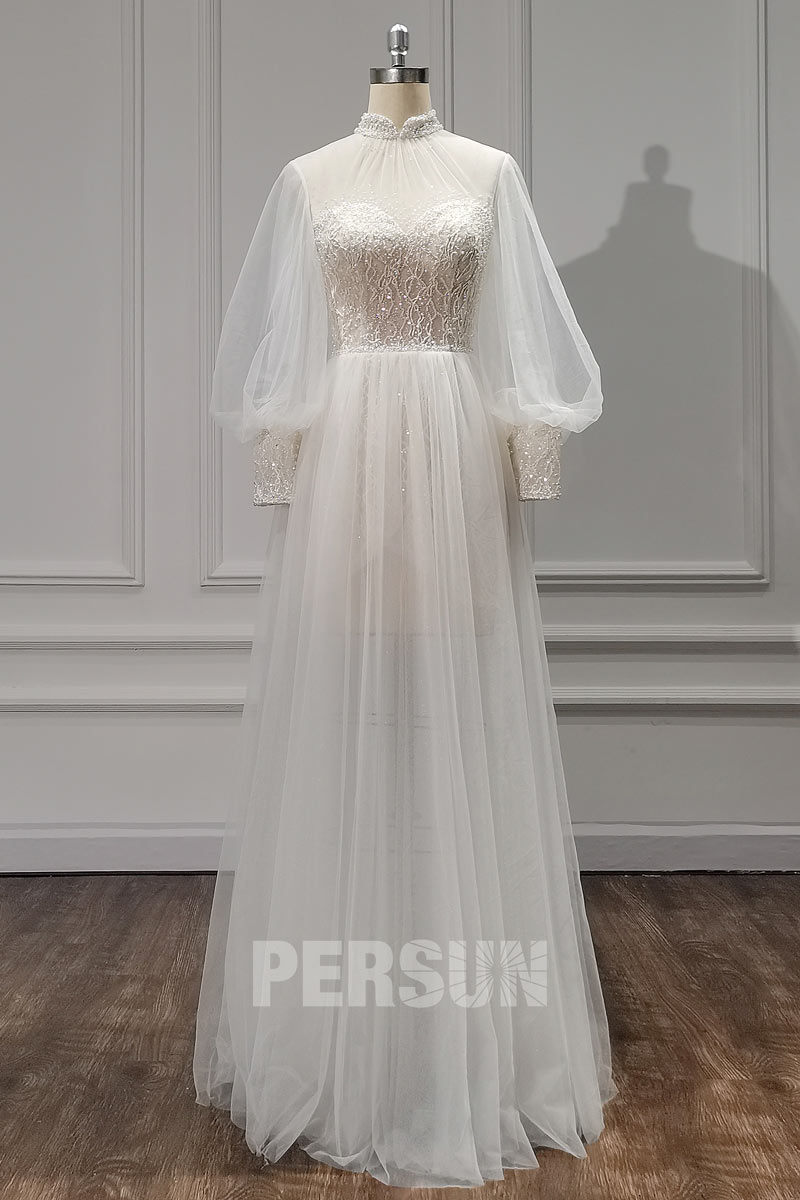 robe mariée 2021 bohème chic à manche bishop col montant illusion