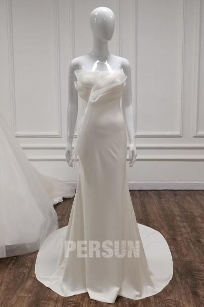 Doriane : Elégante robe de mariée bustier drapé minimalisme crêpe ivoire