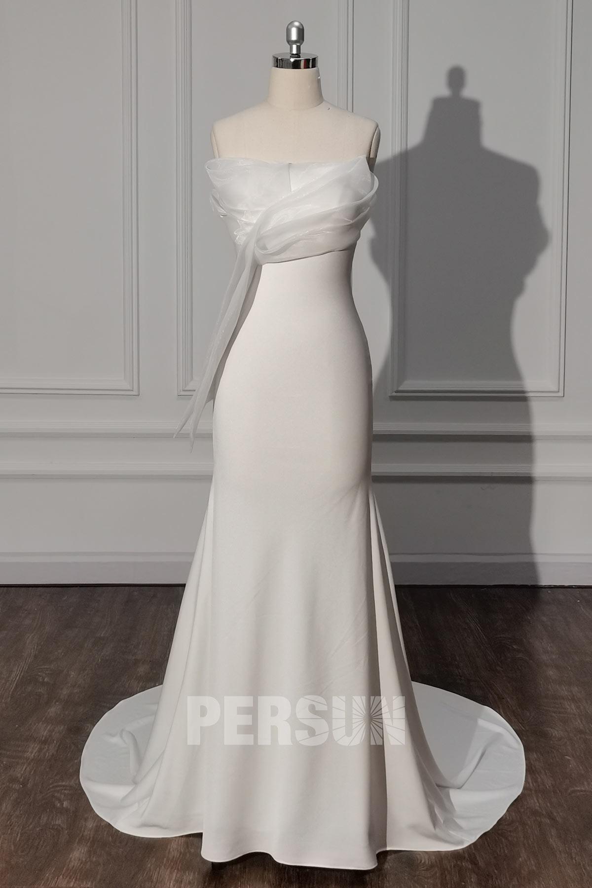 robe de mariée sirène 2021 simple bustier crêpe ivoire