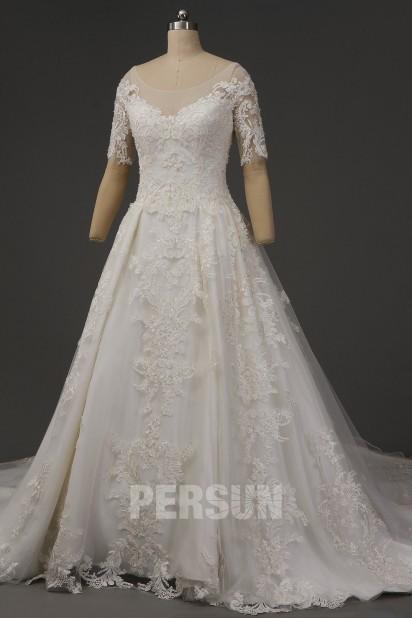 Robe de mariée dentelle vintage manches courtes avec traîne royale
