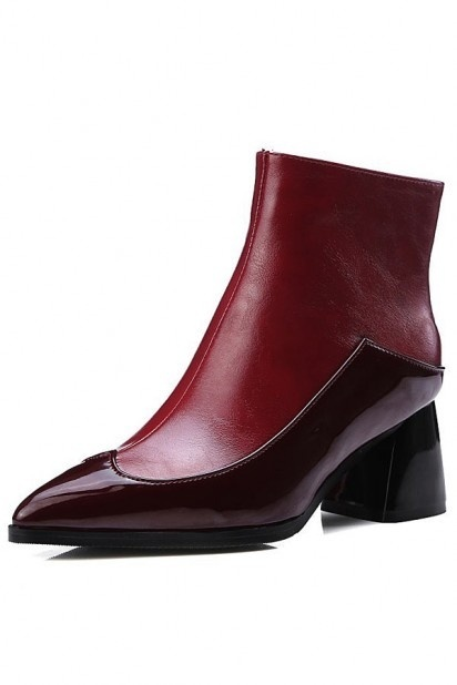Bottines bordeaux bicolores pointues en cuir vernis avec zipper à talon épais