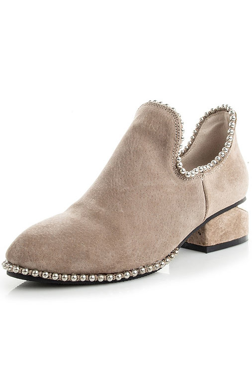 Ankle boots beige à talon épais ornés de strass