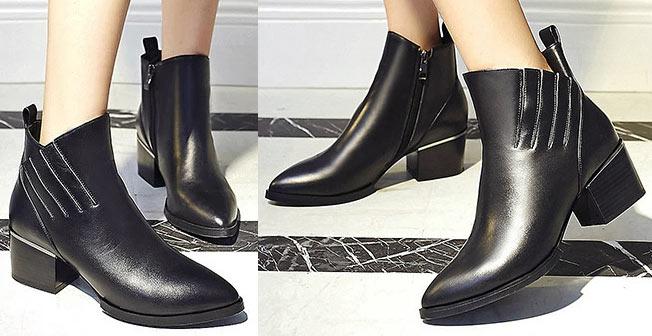 top bottines élégantes noire pour femme en hiver automne à prix bas