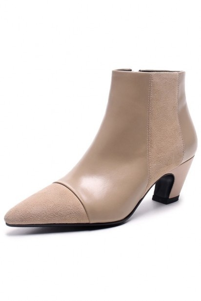 Low boots femme abricot à bout pointu avec talon unique