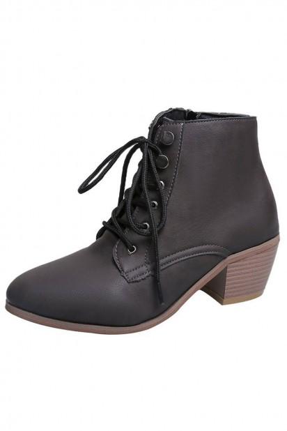 Chaussure femme brune bout pointu talon épais