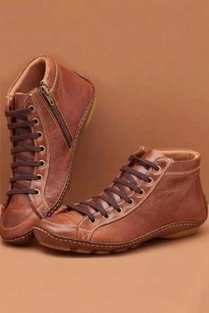 Chaussure de ville cuir rétro camel plate