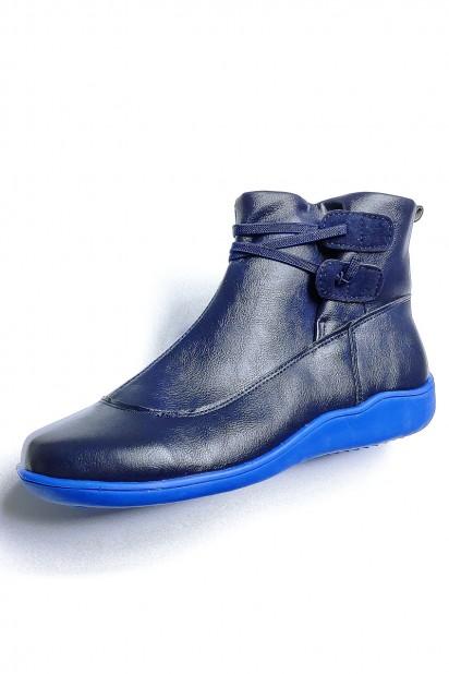 Boots plate rétro bleu en cuir imperméable pour femmes