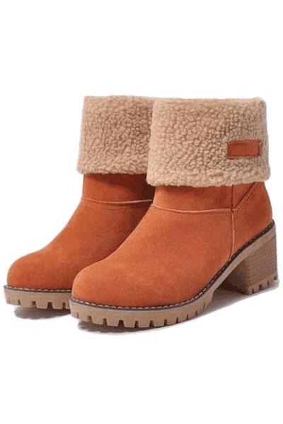 Boots femme suédés orange doublure velours chaude talon épais