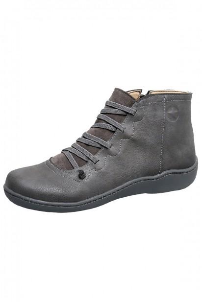 Low boots gris plats bout rond lacet devant