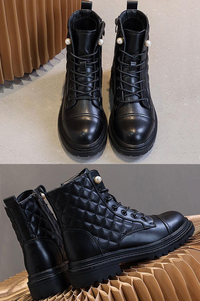 bottine noir en cuir hiver à lacet perlé bout rond