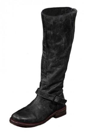 Botte vintage cuir noir détail bande talon épais