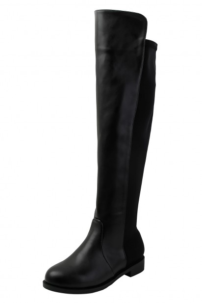 Bottes femme haut genoux noires plates bout rond