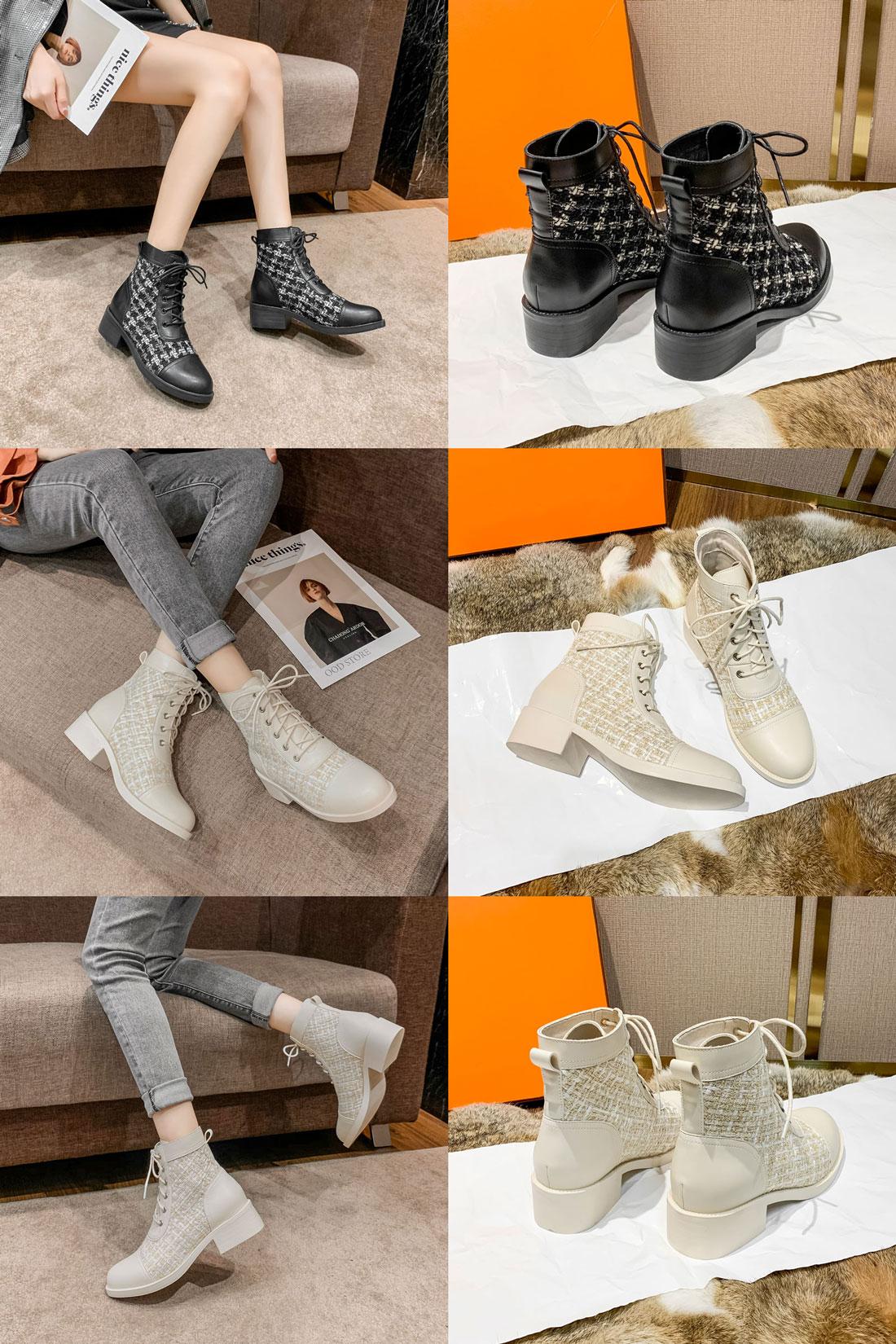 boots femme mode à motif carreaux pas cher