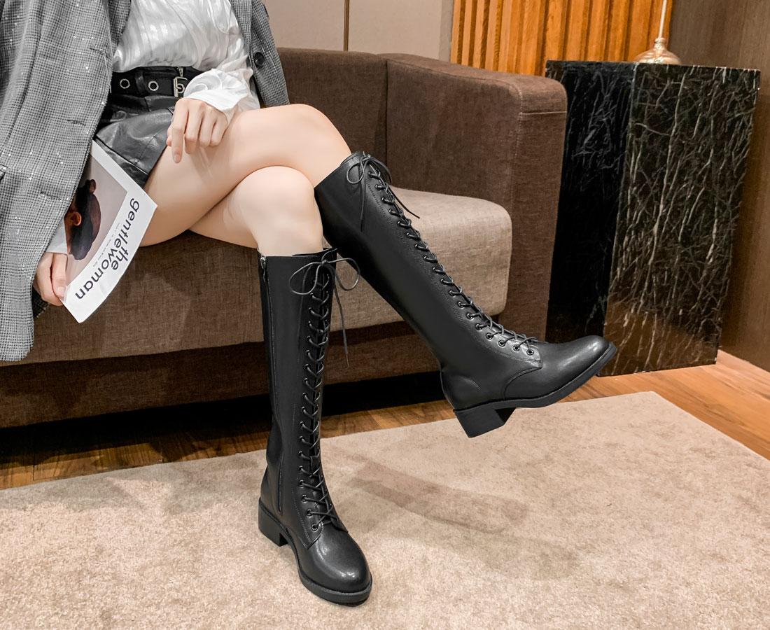 botte cavalière montante femme noir lacet pas cher