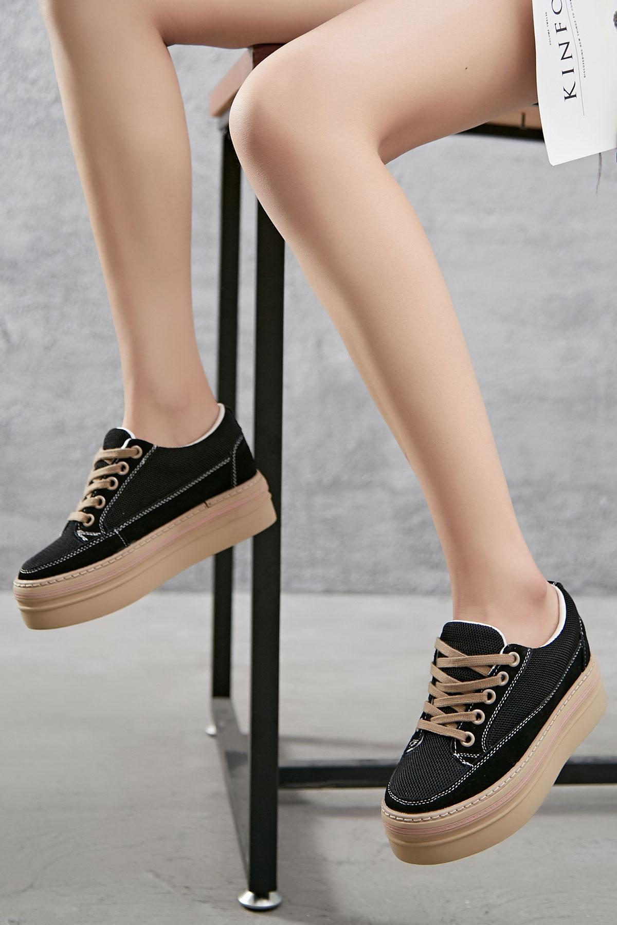 sneakers plateforme noir à lacet