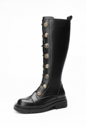 Vintage botte chevalier noire haut mollet bout rond détail boutons