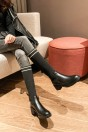 Botte femme noire tige élastique talon épais bout rond