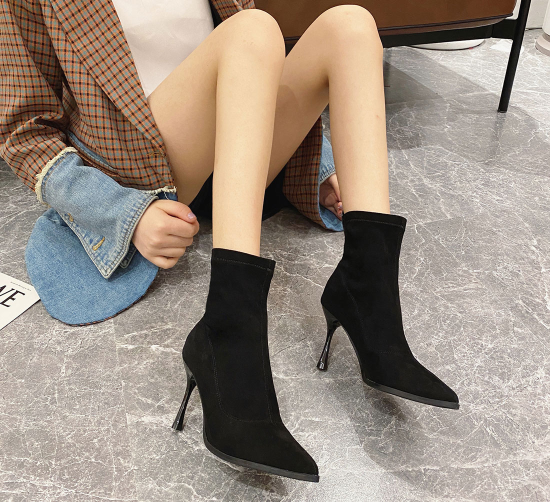 boots noir bout pointu pas cher