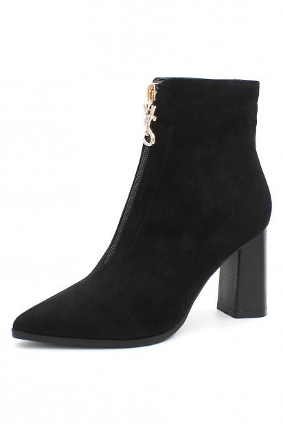 Boots femme noir suédé bout pointu talon haut à zip devant