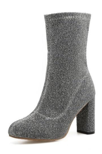 Bottine chaussette grise à talon haut avec zip latéral