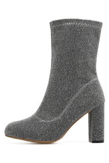 bottine chaussette grise talon haut avec zip lat ral. Black Bedroom Furniture Sets. Home Design Ideas