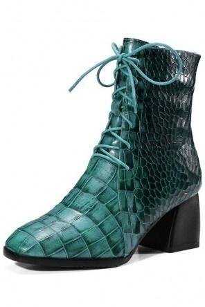 Bottine unique verte en cuir gaufré de python à lacet  bout carré avec zip latéral