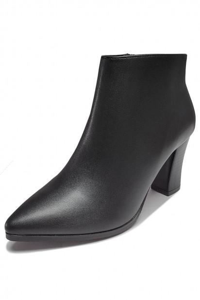 Elégant Low boots femme noir bout pointu talon haut avec zip