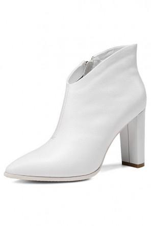 Elégants Low boots femme blanc bout pointu talon haut avec zip