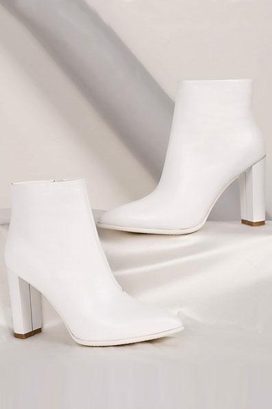bottine blanche pour mariage hiver à talon haut