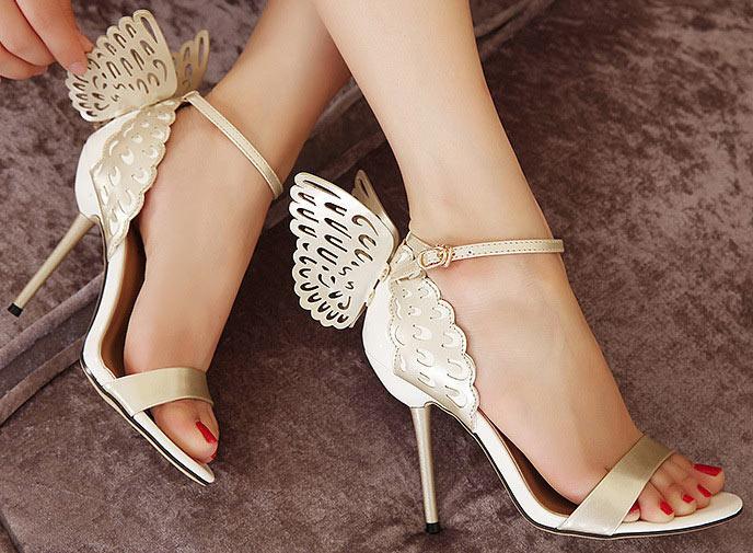 sandale mariage à talon aiguille orné de papillon livraison gratuite