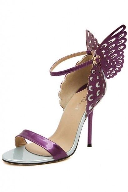 Sandale violette ornée de papillon ajouré à talon aiguille