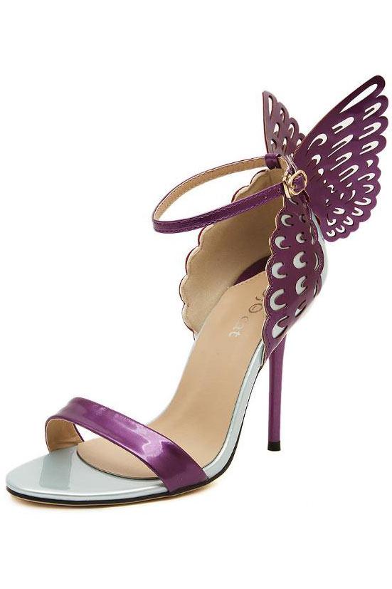 Sandale Papillon Aiguille À Talon Ajouré De Violette Ornée vNmnO80w