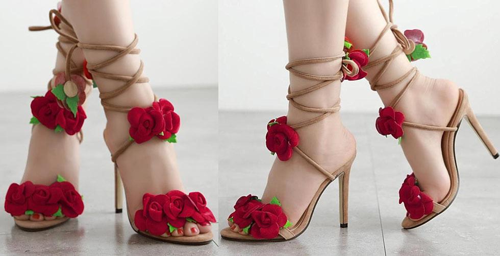 sandale à lacet cheville talon haut pas cher mode promo