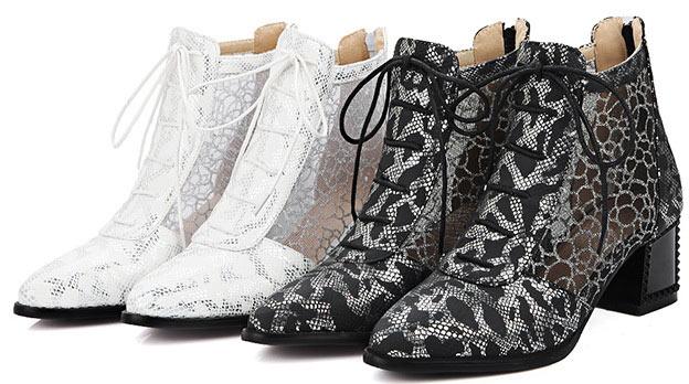 boots vente en ligne à bout pointu talon épais en solde