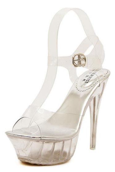 Sandale femme argentée effet transparent à plateforme et talon aiguille