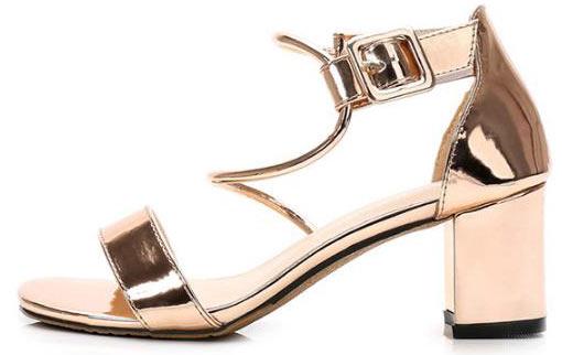sandale effet métal asymétrique talon épais nouveauté 2019 été pour promo pas cher