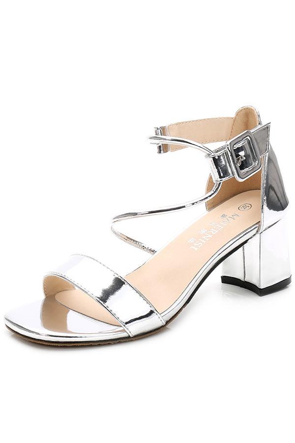 Sandale effet métal argentée à talon épais