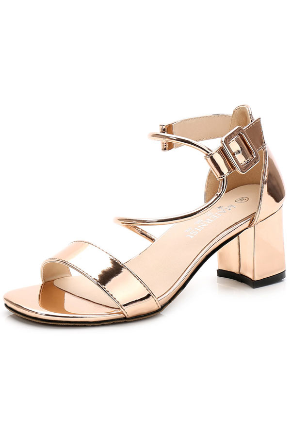 sandale de mariage effet métal dorée à talon épais