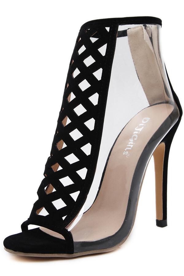 5435eaeb37bb7 Sexy Sandale de soirée noire transparente bout ouvert à talon haut ...