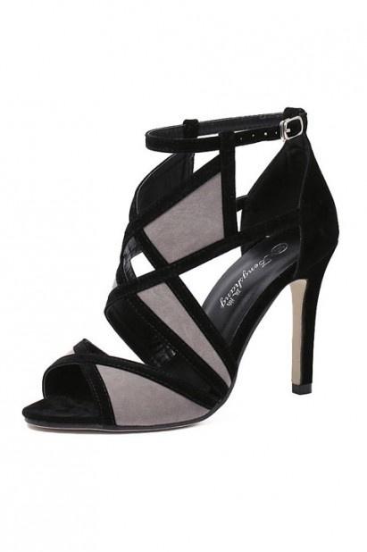 Sexy Sandale de soirée ajourée bloc couleur à talon haut fin