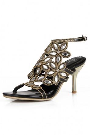 Sandale de soirée noire fleurie ornée de strass à talon mi-haut