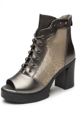 Sandale en tulle transparent  fleuri doré bout ouvert à lacet talon épais