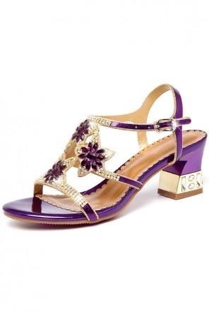 Sandale de soirée violette ornée de strass fleuri à talon épais