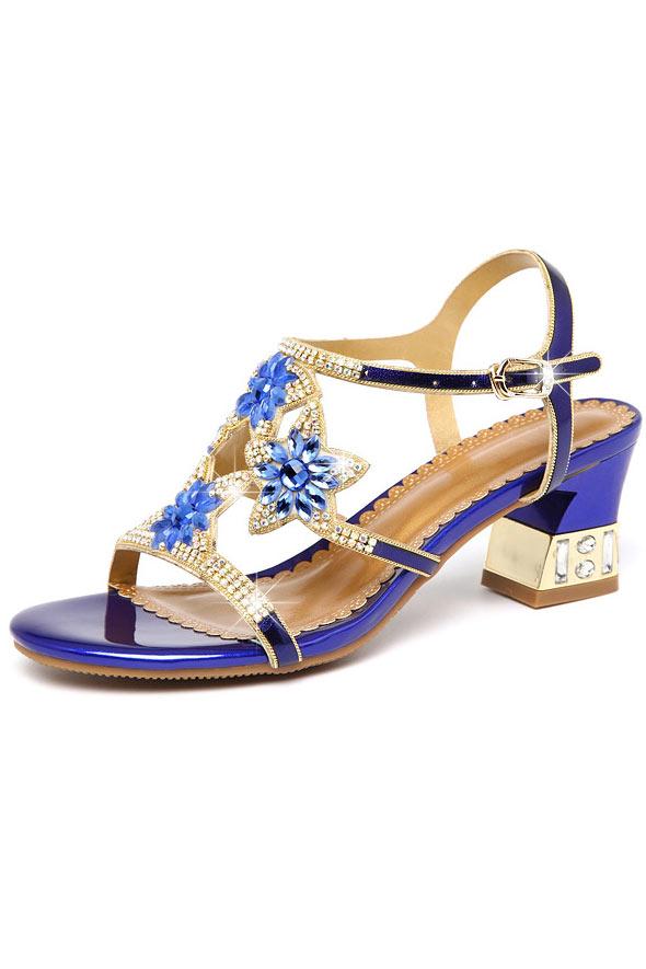 Sandale de mariage violette ornée de strass à talon épais